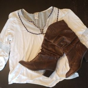 Distressed high-heel boots